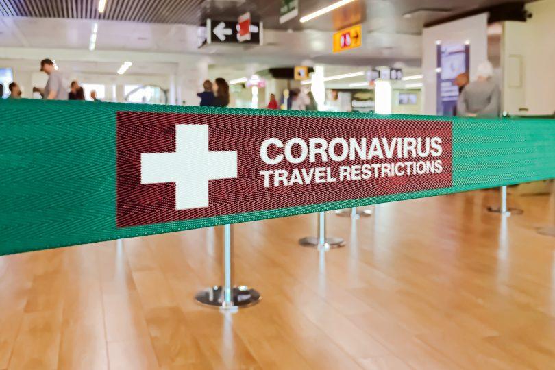 Coronavirus travel restrictions sign